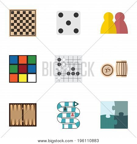 Flat Icon Entertainment Set Of Chess Table, Gomoku, Dice And Other Vector Objects