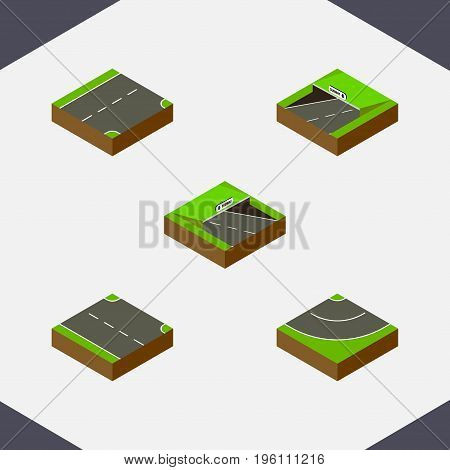 Isometric Road Set Of Rightward, Underground, Down And Other Vector Objects