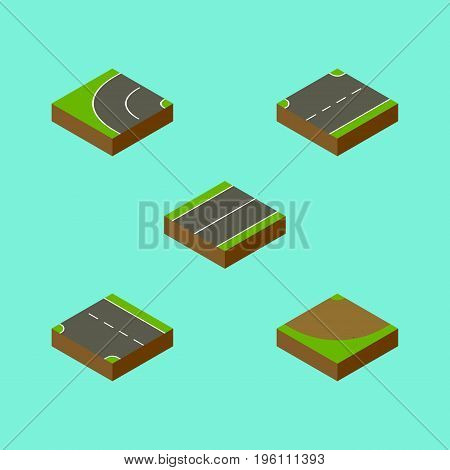 Isometric Way Set Of Plane, Way, Turn And Other Vector Objects