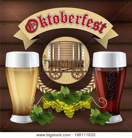 Oktoberfest. Beer festival celebration. Mug with beer on a background of wood with malt branch. Hops beer vector. Beer barrel with cart. Vector illustration