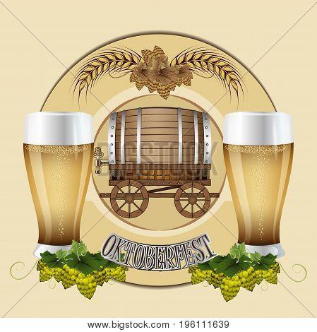 Beer festival celebration. Beer barrel. Vector illustration of Oktoberfest. Hops beer