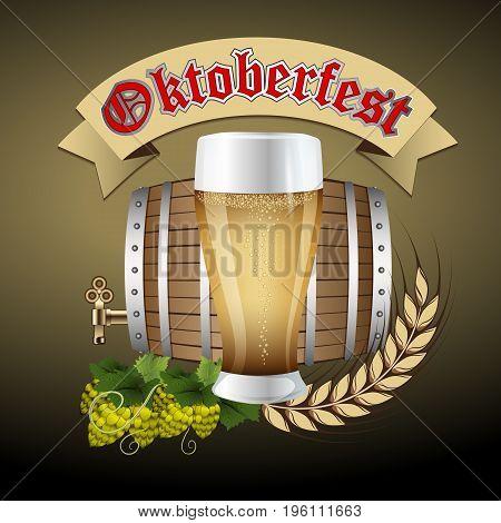 Oktoberfest. Beer festival celebration. Mug with beer on a dark background with malt branch. Hops beer vector.