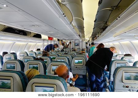 Interior Of Large Passenger Airplane