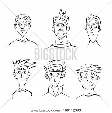 Faces of young men with different emotions. Vector portrait contour illustration, isolated on white background.