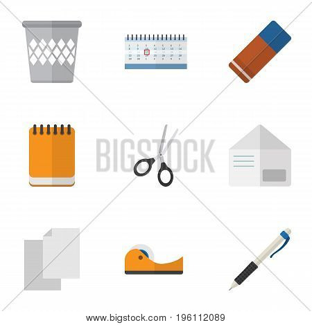 Flat Icon Tool Set Of Rubber, Clippers, Sheets And Other Vector Objects