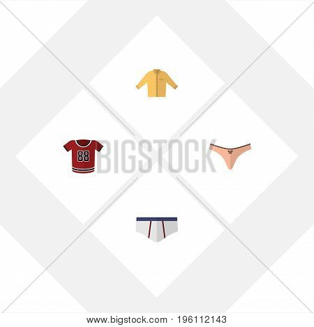 Flat Icon Dress Set Of Banyan, Underclothes, Lingerie And Other Vector Objects