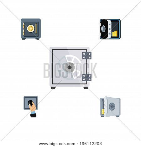 Flat Icon Safe Set Of Banking, Saving, Security And Other Vector Objects