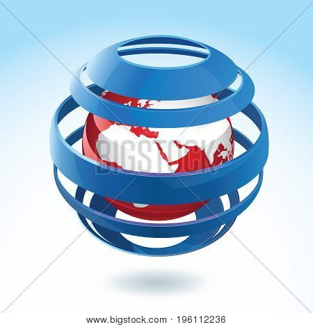 Black and red earth globe icon with blue ribbon around on background with gradient effect 3d vector illustration