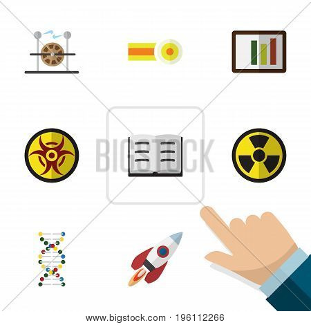 Flat Icon Study Set Of Chemical, Spaceship, Irradiation And Other Vector Objects