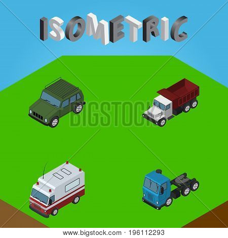 Isometric Transport Set Of Freight, First-Aid, Armored And Other Vector Objects