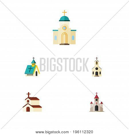 Flat Icon Christian Set Of Building, Traditional, Religious And Other Vector Objects