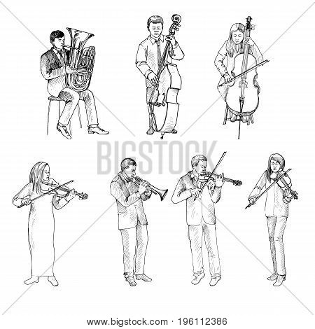 Sketch of musicians, orchestra, hand drawn vector illustration
