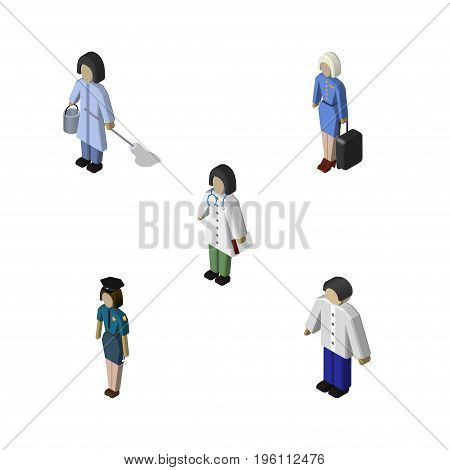Isometric Human Set Of Hostess, Policewoman, Male And Other Vector Objects