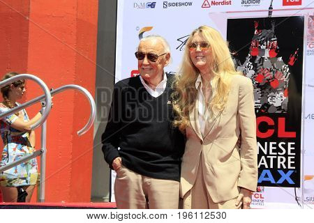 LOS ANGELES - July 18:  Stan Lee, Joan Lee at the Stan Lee Hand and Footprint Ceremony at the TCL Chinese Theater IMAX on July 18, 2017 in Los Angeles, CA
