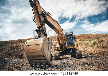Highway Construction Site Excavator. Details Of Roadworks With Heavy Duty Machinery