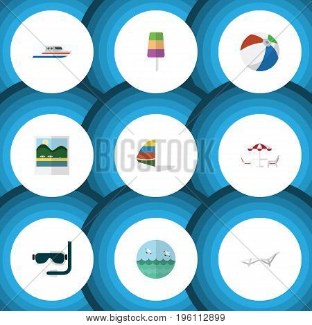 Flat Icon Beach Set Of Scuba Diving, Recliner, Deck Chair And Other Vector Objects