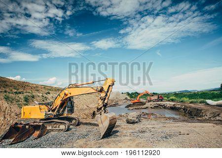 Highway Construction Site Building Details With Excavators Loading Dumper Trucks, Bulldozer, Scoop W