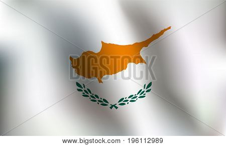 Flag of Cyprus with a little Waving Shading & Flag Colors separated layers - Vector Illustration