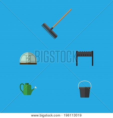 Flat Icon Garden Set Of Barbecue, Pail, Hothouse And Other Vector Objects