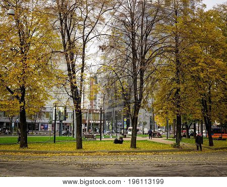 Public Park At Autumn In Moscow, Russia
