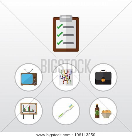 Flat Icon Life Set Of Briefcase, Beer With Chips, Dental And Other Vector Objects