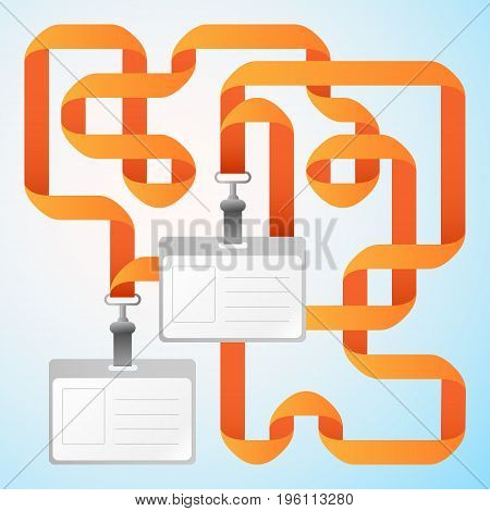 Two blank identification cards badges with orange ribbons on light background flat vector illustration