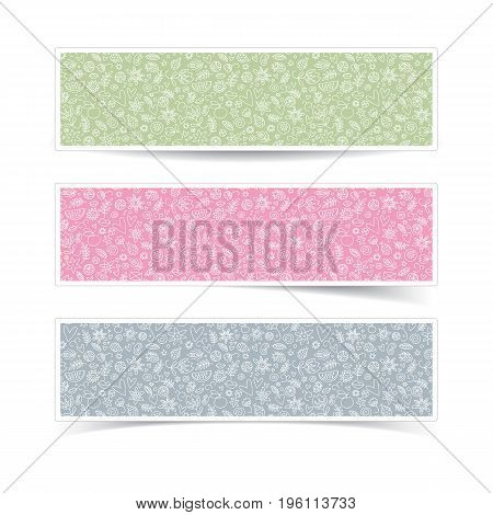 Horizontal cute valentines day banners in pastel colors with hearts flowers and berries isolated on white background doodle vector illustration