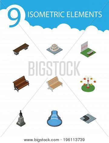 Isometric City Set Of Garden Decor, Bench, Sculpture And Other Vector Objects