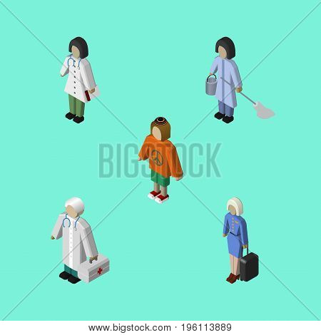 Isometric Human Set Of Hostess, Housemaid, Lady And Other Vector Objects