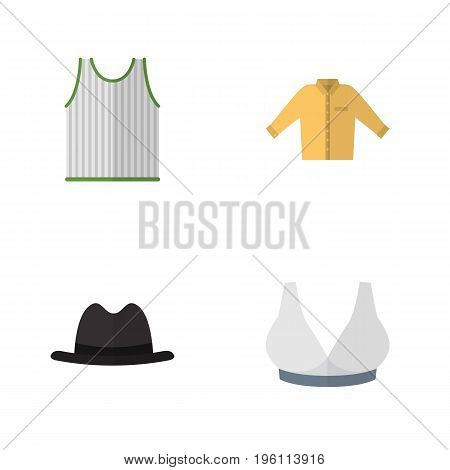 Flat Icon Dress Set Of Brasserie, Singlet, Panama And Other Vector Objects