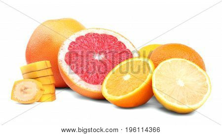 Different colorful citruses isolated over the white background. Cut grapefruit with a juicy texture. Sliced yellow banana, tasteful oranges and sour lemons. Raw and ripe summer fruits.
