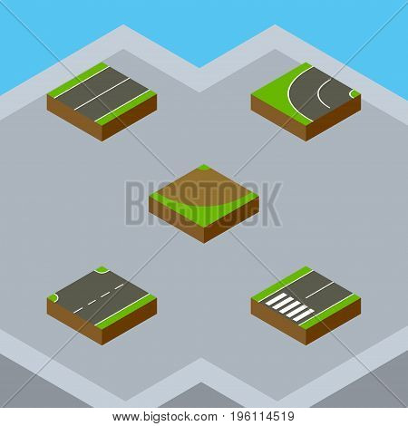 Isometric Way Set Of Footpassenger, Turn, Upwards And Other Vector Objects