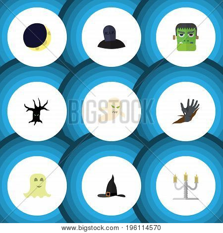 Flat Icon Festival Set Of Zombie, Terrible Halloween, Spirit And Other Vector Objects