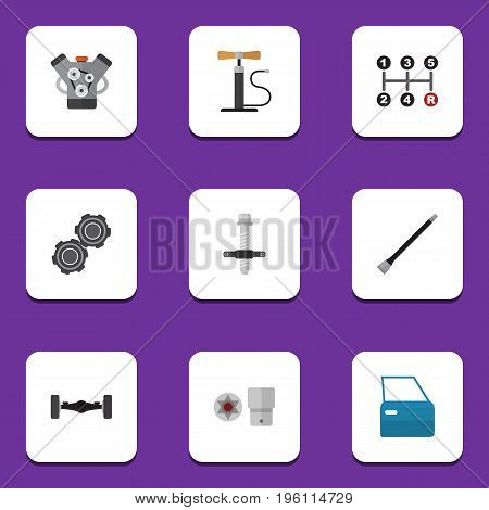 Flat Icon Service Set Of Wheel Pump, Pipeline, Belt And Other Vector Objects