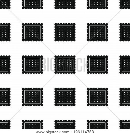 Biscuit cookie bakery product black simple silhouette vector seamless pattern, silhouette stylish texture. Repeating Biscuit cookie seamless pattern background for bakery design and web