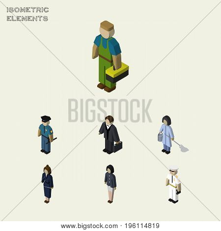 Isometric Human Set Of Girl, Seaman, Housemaid And Other Vector Objects