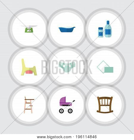 Flat Icon Infant Set Of Children Scales, Cream With Lotion, Toilet And Other Vector Objects