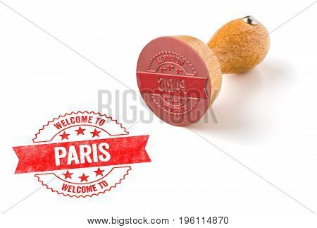 A Rubber Stamp On A White Background - Welcome To Paris