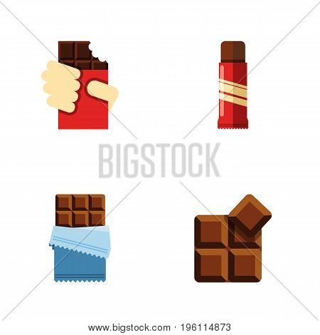 Flat Icon Sweet Set Of Bitter, Sweet, Shaped Box And Other Vector Objects
