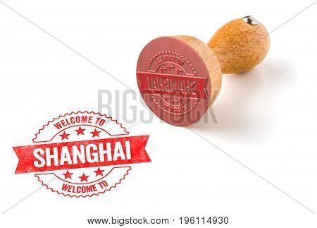 A Rubber Stamp On A White Background - Welcome To Shanghai