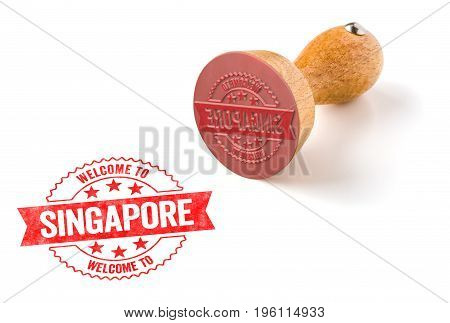 A Rubber Stamp On A White Background - Welcome To Singapore