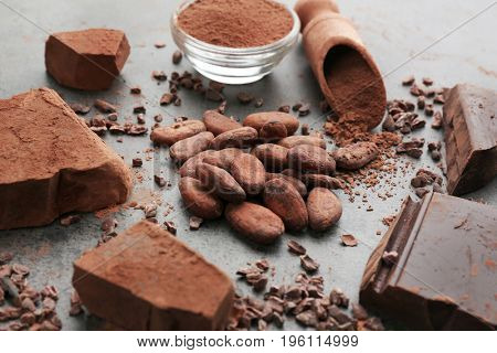 Composition of cocoa products on table