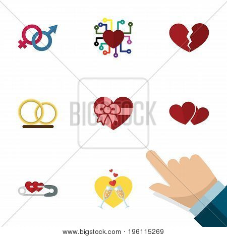 Flat Icon Love Set Of Emotion, Ring, Divorce And Other Vector Objects