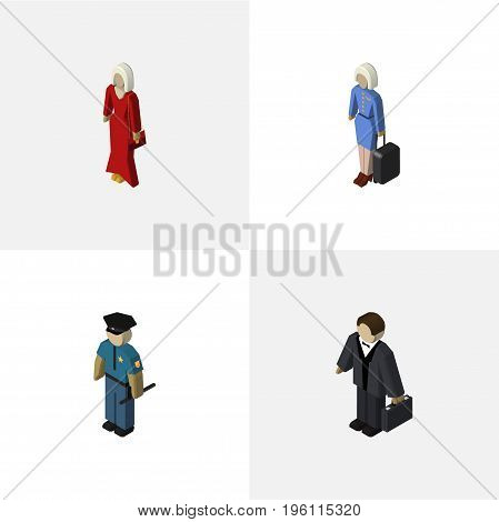 Isometric Person Set Of Hostess, Investor, Officer And Other Vector Objects