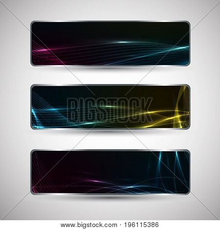 Horizontal abstract banners set with wavy patterns on dark background with light effects isolated on grey background flat vector illustration