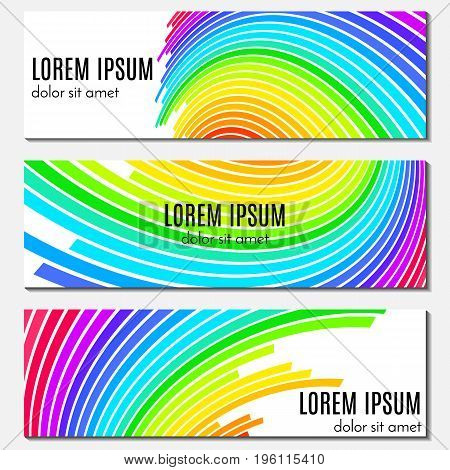 Set of colorful abstract header banners with curved lines and place for text. Vector backgrounds for web design.
