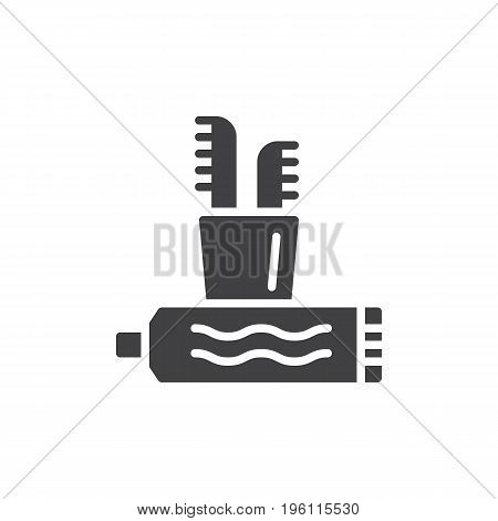 Toothbrush and toothpaste icon vector, filled flat sign, solid pictogram isolated on white. Teeth cleaning symbol, logo illustration. Pixel perfect graphics