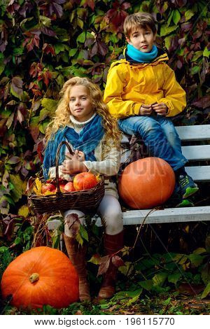 Happy romantic boy and girl sitting on a bench in a beautiful autumn park. Children's fashion. Autumn mood, halloween.