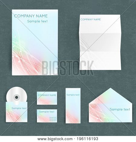 Professional corporate identiry set with your company name in pastel colors with lines and lights pattern isolated flat vector illustration