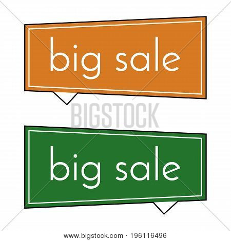 Big sale orange and green banner on white background. Vector background with colorful design elements. Vector illustration.